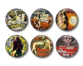 Horror Movies button badges or fridge magnets