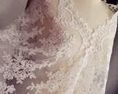 Off White lace fabric, alencon lace fabric, bridal lace fabric,  vintage floral lace fabric, wedding lace fabric, wedding table cloth