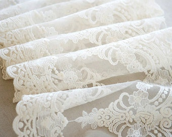 ivory lace fabric, retro embroidered lace fabric, retro bridal lace, vintage lace fabric, scalloped lace