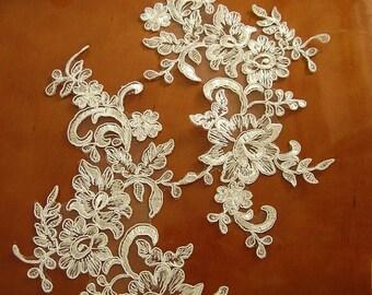 lace headpiece, wedding applique, ivory lace applique, alencon lace applique, bridal headpiece applique, bridal hairflower applique