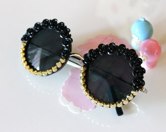 Black Rose & Gold Studded Black Round Sunglasses