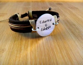 Personalized Leather Bracelet... Hand Stamped Sterling Silver Round Disc.