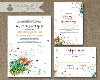 Rainbow Floral Garden Wedding Invitation 3 Piece Suite Reception Response RSVP Chic Butterflies DIY Digital or Printed - Alice Style