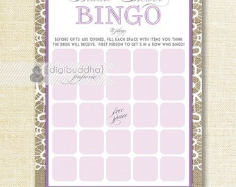"""Purple Lace Bridal Shower Bingo 5x7"""" Shabby Chic Lilac Lace Burlap Bridal Shower Game Card 5x7 Printed Game Cards - Jackie"""