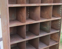 Antique Industrial Shelving Unit Nesting Box Metal Storage Rusted Metal and Green Perfect