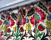"""Pair of 50"""" wide X up to 100"""" long drapery panels in bright floral print- Custom lengths available"""