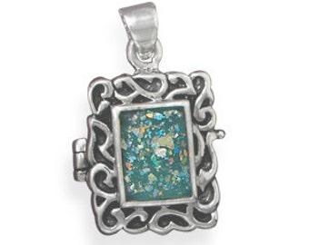 Ancient Roman Glass LOCKET - 925 Sterling Silver
