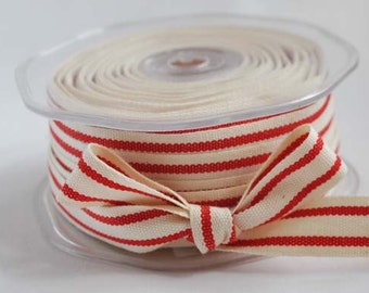 Cotton natural and red stripe ribbon, 1m (1.1yard)
