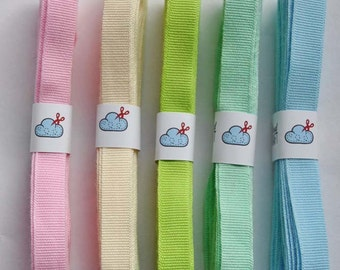 Woven grosgrain ribbon, 'Sherbet' colour set, 15m (16 yards), pastel ribbon