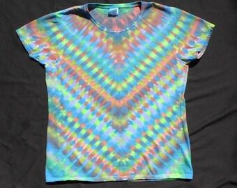 Dark Earth Tones V Tie Dye Ladies X-Large Shirt #138