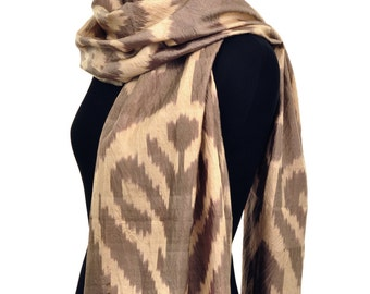 Treasure Taupe Ikat Silk Scarf - 6014