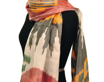 Color Melange Ikat Silk Scarf - 6018. Free Shipping on orders 100 dollars and up (USA). Coupon Code: USFREESHIPPING