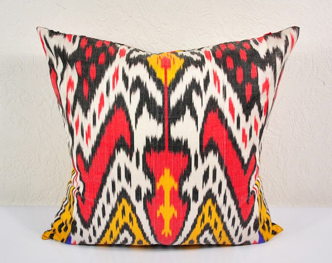 """Ikat Pillow, Colorful Caravan 20"""" Ikat Pillow Cover - PA521-1AB3, Ikat throw pillows, Designer pillows, Decorative pillows, Accent pillows"""