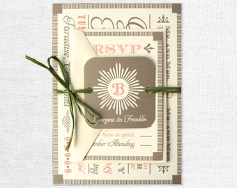 Modern Vintage Wood Block Fonts Wedding Invitation, with Monogram Tag