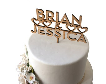 Rustic Wood Name Cake Topper, Modern Minimal Font, Hearts, Laser Cut Custom Design