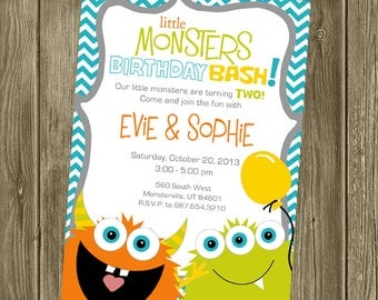 Monster Birthday Party Twin Invitation