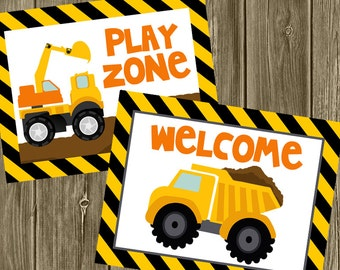 Construction Birthday - Welcome & Play Zone Signs