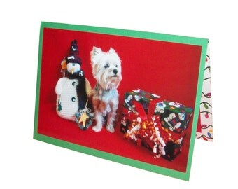 Yorkie Christmas Card, Yorkshire Terrier Christmas Card, Dog Snowman Christmas Card