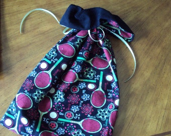 For the Tennis Buff--Tennis Racket Shoe Bags, gift bags, lingerie bags, set of two