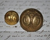 Victorian Buttons with T D Initials, Coat of Arms Buttons, Parisian buttons, vintage supplies