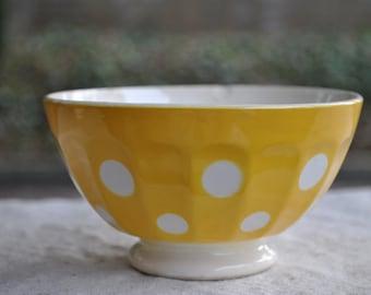 Antique faience bowl, Vintage cafe au lait bowl, Poka dot bowl, French Kitchen Decor, Vintage Soup or Salad Bowl