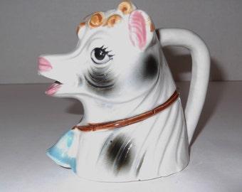 Vintage Pitcher Ceramic Creamer Cow Pitcher Vintage Creamer