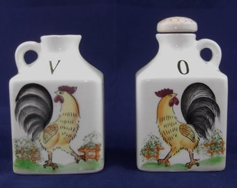 Vintage Oil and Vinegar Cruets Roosters Old Fashioned Country Style