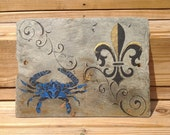 Blue Crab and Fleur De Lis on Recycled New Orleans Roofing Slate