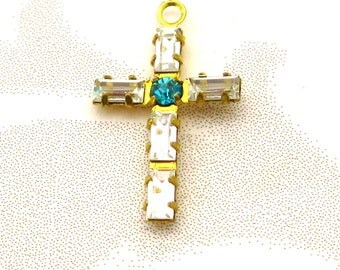 Crystal Cross Charms - 3 Crystal w/Blue Zircon Baguette crystals - one loop Austrian Crystal findings Jewelry Supplies Charms Dangles
