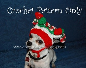 Instant Download Crochet Pattern- Christmas Jester Dog Hat - Small Dog pom pom hat 2- 20 lbs