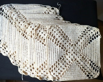 Nine Vintage Hand Crocheted 7 Inch Squares