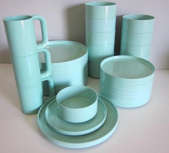 Heller Pastell Mint stapelbare Geschirr Set ~ Geschirr Pastell