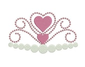 Instant download crown princess heart embroidery design machine