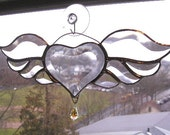 Stained Glass|Winged Heart Suncatcher|Beveled Glass|Swarovski Crystal|Art & Collectibles|Glass Art|Suncatchers|Handcrafted|Made in USA