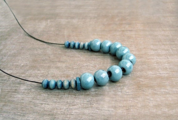 Ceramic And Wood Necklace, Pastel Blue Necklace, Clay Necklace