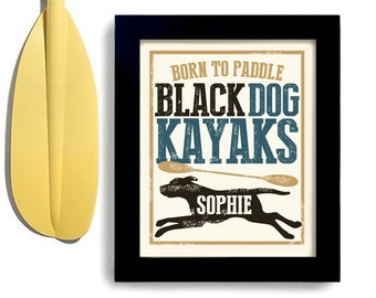 Kayak Art Black Labrador Retriever Art Black Dog Art Print Personalized Dog Art Canoe and Kayaking Dogs Name Art Outdoor Dog