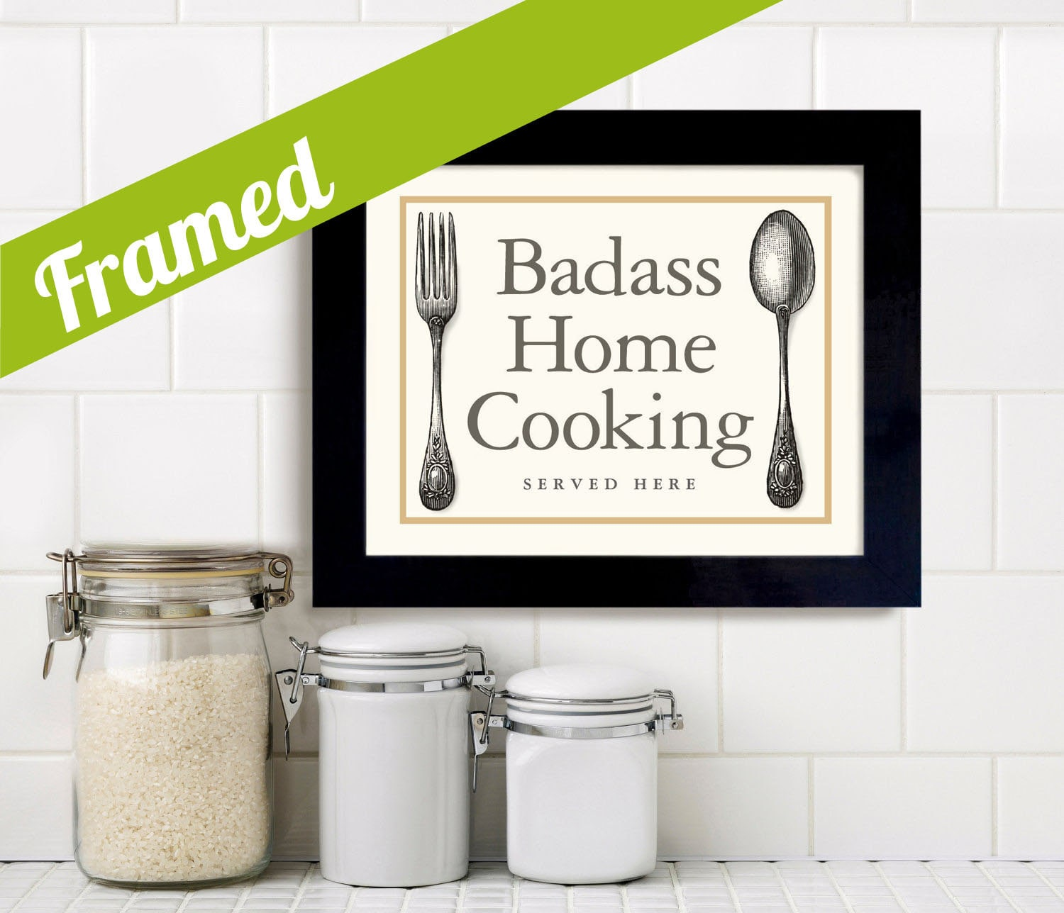 Kitchen art wall decor home cooking quote framed art print fun for Kitchen framed wall art
