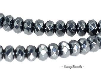 4x3mm Noir Black Hematite Gemstone Black Faceted Rondelle Loose Beads 16 inch Full Strand (90147065-336)