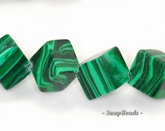 8mm Hedge Mazes Malachite Gemstone Green Diagonal Square Cube Loose Beads 7.5 inch Half Strand (90145136-218)