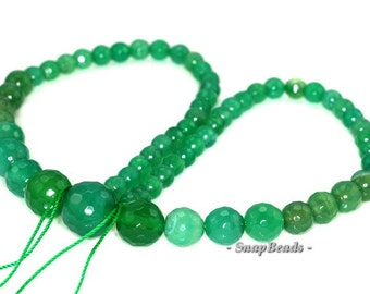 Green Agate Gemstone Green Faceted Gradated Round 6mm-14mm Loose Beads 17 inch Full Strand (90148334-444)