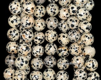 12mm Dalmation Jasper Gemstone Black Dots Round 12mm Loose Beads 7.5 inch Half Strand (90144760-235)