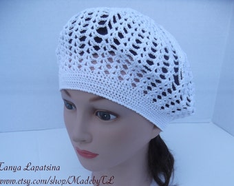 Clearance. Crochet Cotton Beret, Crochet Summer Women Hat, Sun Hat, Summer Lace Hat