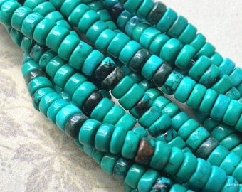 1 Strand (16 inches) of 6 mm Natural Turquoise Rondelle Bead Turquoise Stones (t.s)