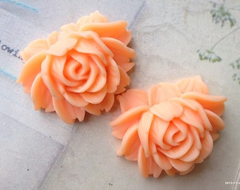 45 x 35 mm Peach Resin Flower Cabochons  (t.t)