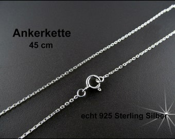 """Real Silver necklace chain - anchor chain 925 Sterling Silver 18"""" 45 cm"""
