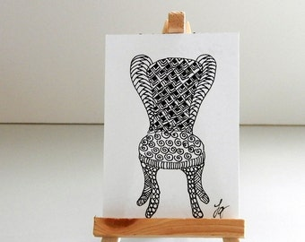 CHAIR ACEO, Pen and Ink Abstract Zentangle Style Small Format Art , Black and White
