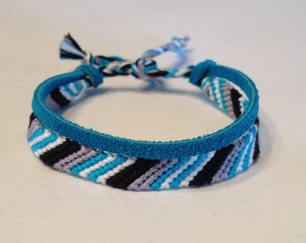 Turquoise, Grey, Black & White Striped Friendship Bracelet - with Turquoise Suede Lace