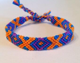 Turquoise, Orange & Purple - Friendship Bracelet