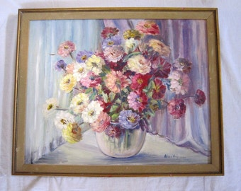 Floral Still Life Painting, Signed Angevine
