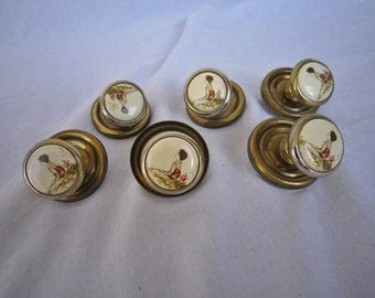 Enamel Drawer Pulls, Set of 6
